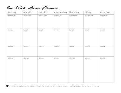 photograph about Menu Plan Printable called Free of charge Pack of 11 Substitute Printable Menu Creating Styles