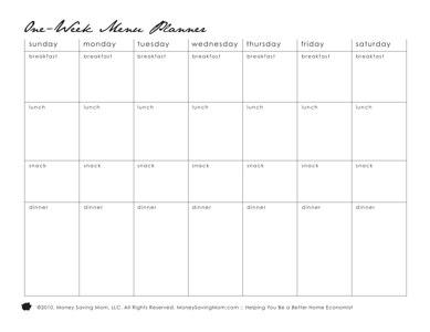 menu plan printable