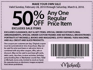 click here to print the new michaels coupon this coupon is for 50 off any one regular price item and is good through march 6 2010 - Michaels Frames Coupons