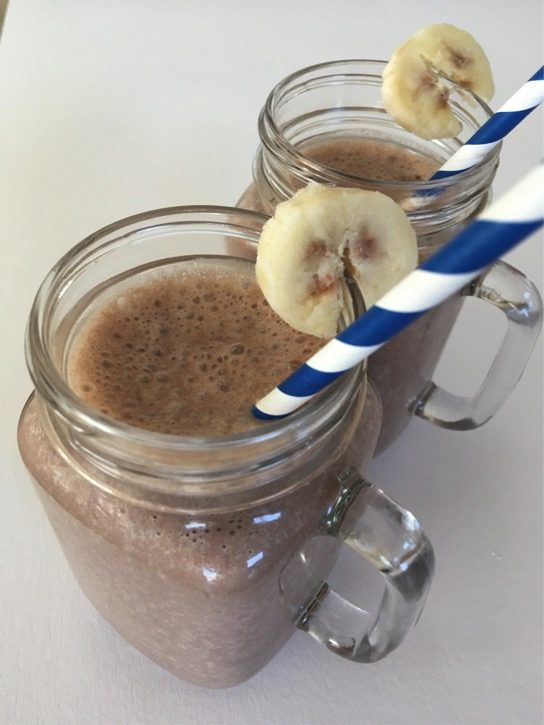 Chocolate Peanut Butter Banana Smoothies