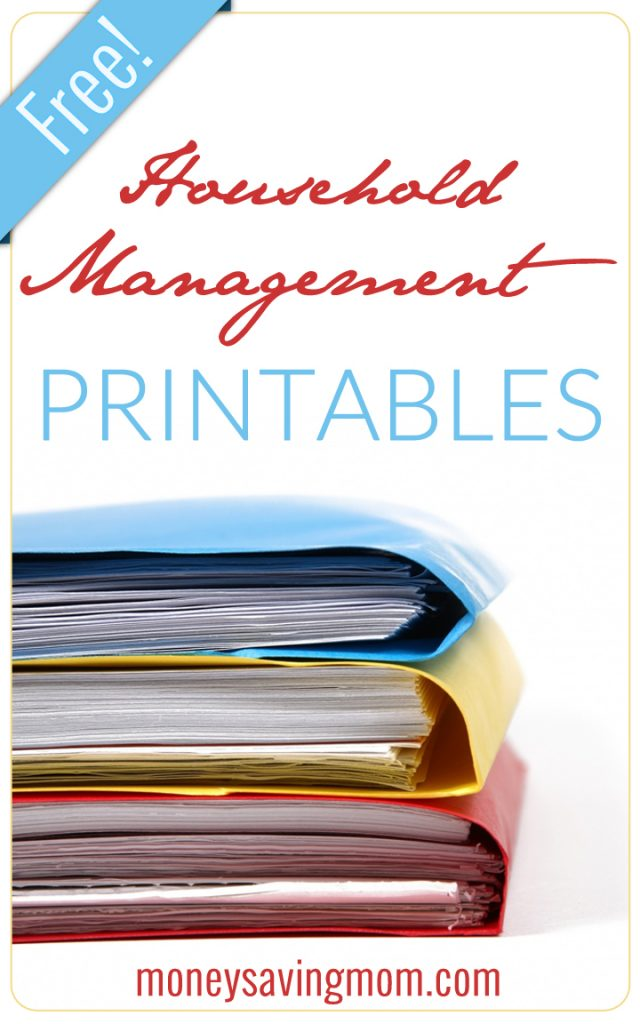 Money Saving Mom@ Free Household Management Printables