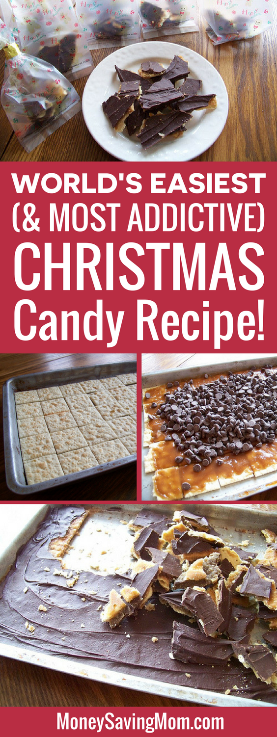 This Christmas Candy is SO simple, deliciously addictive, and super inexpensive! Make a BIG batch for frugal gift ideas!