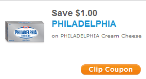 With this printable coupon save $1 off your next Philadelphia Cream Cheese purchase. This is valid for a single Cream Cheese purchase only. Printable Coupon for $1/1 Philadelphia Cream Cheese Via this.