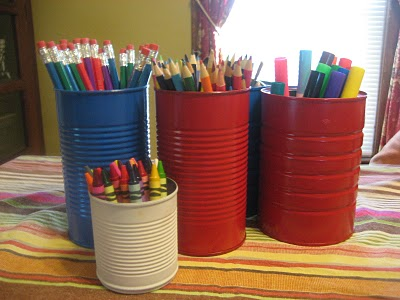 do it yourself recycle cans into art supply storage