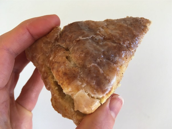 Closeup of Cinnamon Scone in hand