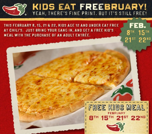 Chili's: Kids Eat Free Days In February