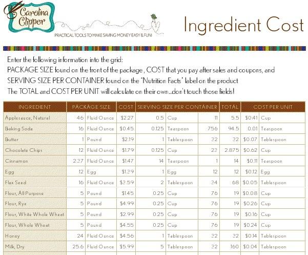 Free downloadable Recipe Cost Calculator spreadsheet - Money ...
