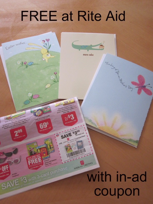 Rite aid free american greetings cards money saving mom money rite aid has an in ad coupon for 33 american greetings cards in the weekly flier use that to get three 099 cards for free m4hsunfo
