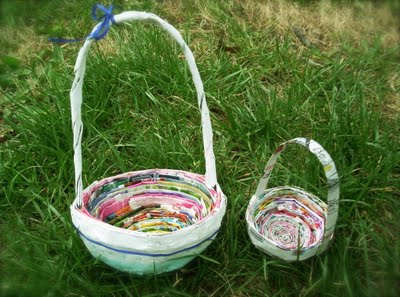 Do it yourself easter baskets from newspaper and vegetable dyed roots of simplicity shows you how to making easter baskets out of newspaper love this though i doubt i have the patience to pull it off solutioingenieria Choice Image