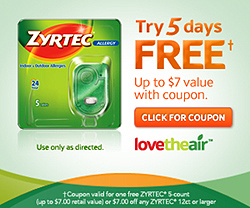 zyrtec coupon Free 5 Count Package of Zyrtec ($7 Value)