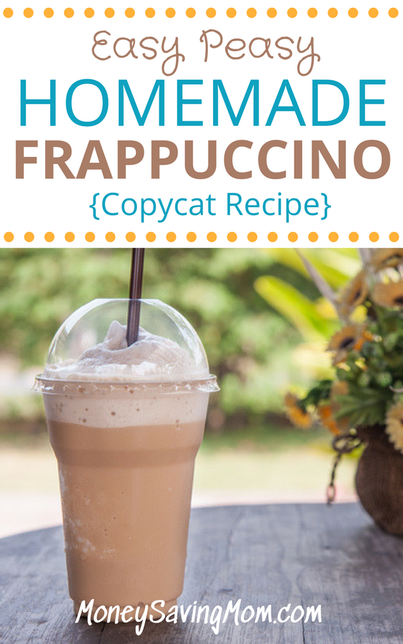 Love frappuccinos but hate the cost at the coffee shop? Try this delicious homemade copycat recipe that will save you over $300 a year!