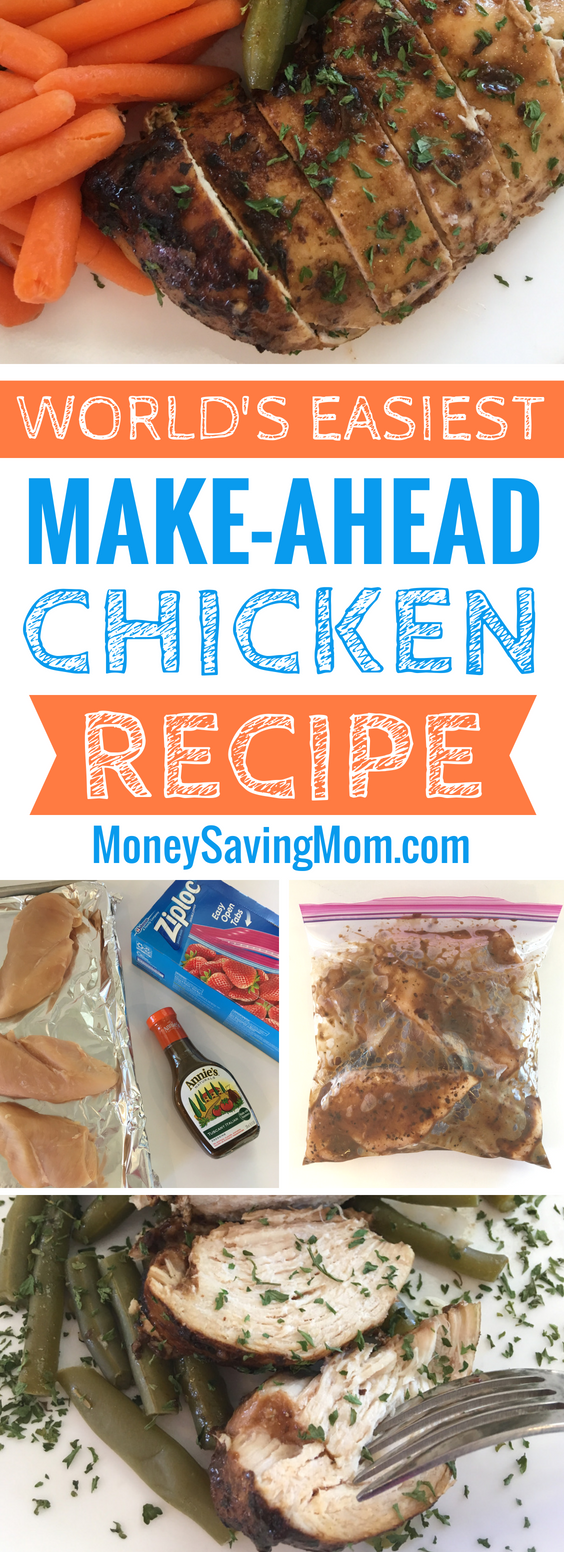 This make-ahead marinated chicken recipe is SO easy, frugal, and delicious! Perfect for a simple weeknight dinner idea!