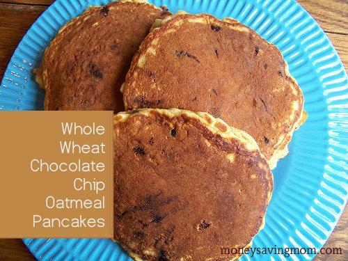 Whole Wheat Chocolate Chip Oatmeal Pancakes - Money Saving ...
