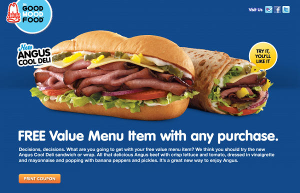 Arby 39 s free value menu item with any purchase coupon for Arby s 2 for 5 fish