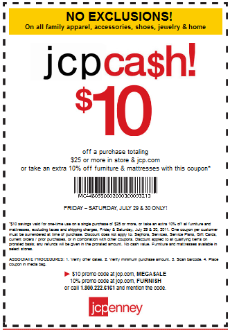 This option applies to online and in-store shopping. 7. In the spring, summer and winter, the Friends & Family Sales release discounts up to 25% off select products. Bonus markdowns are given to cardholders in the same events. 8. While you can use up to 10 JCPenney discount codes in each order, some may have other offer exclusions.