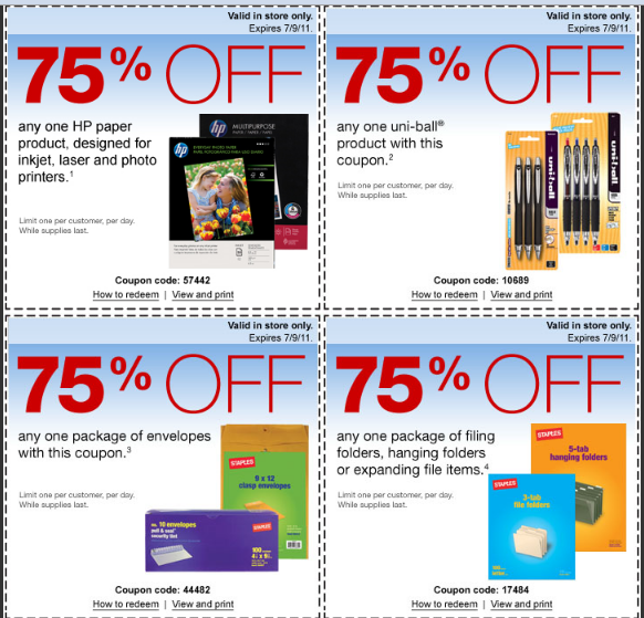 staples 75% off hp printer paper uni ball products envelopes new hp 75 off laptop coupon dv6t quad edition for 699 582x559