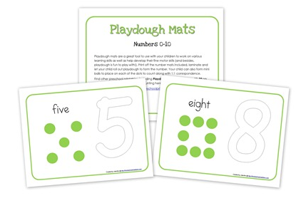 Number Play Playdough Mat Printables