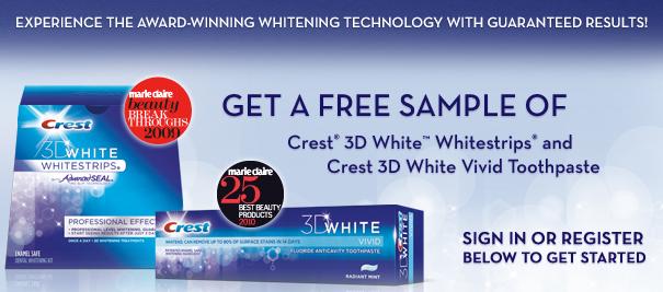 Crest 3d whitestrips samples & $10 coupon!