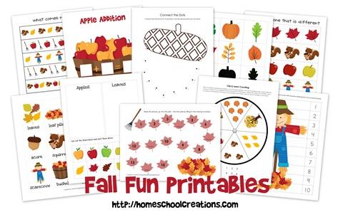 Redfly Creations Free Fall Preschool And Kindergarten Printable