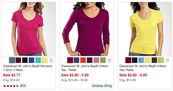 86ef9da445b JCPenney.com: Ladies' short-sleeved & long-sleeved tees for $2.21 + ...