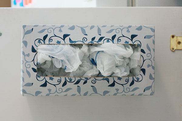 turn a tissue box into a plastic bag dispenser money saving mom. Black Bedroom Furniture Sets. Home Design Ideas