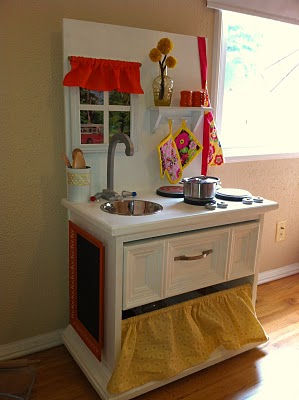 From old end table to adorable play kitchen money saving for Play kitchen table