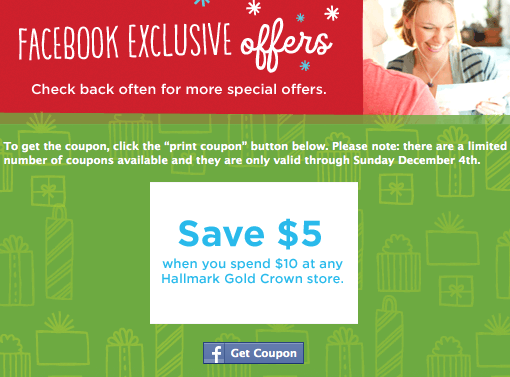 Hallmark coupon $5 off $10