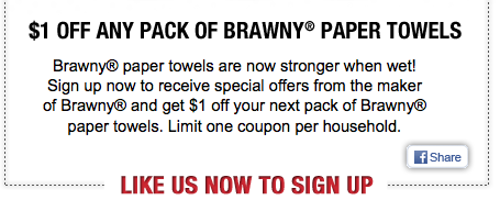 image regarding Brawny Printable Coupons known as $1/1 Brawny Paper Towels printable coupon (Fb offer you