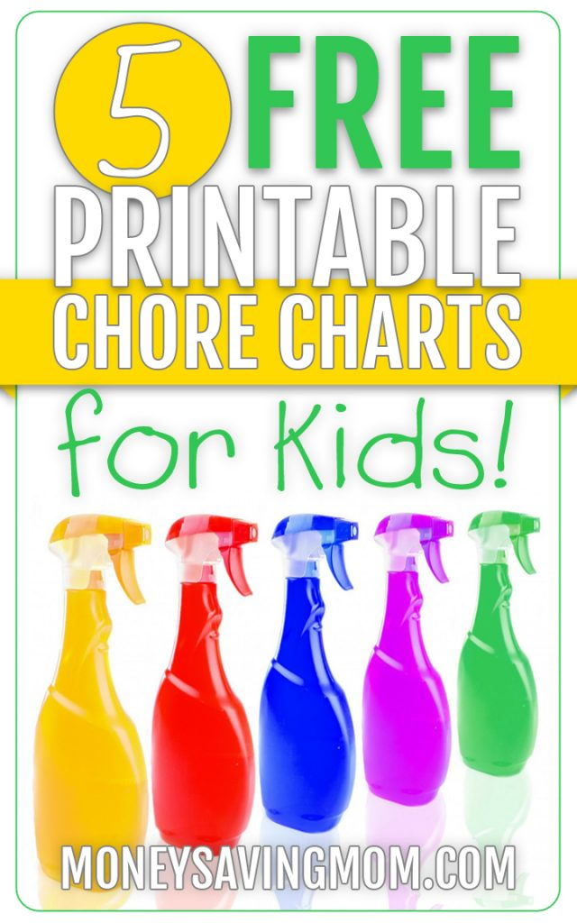 photograph relating to Printable Chore Chart for Kids named 5 No cost Printable Chore Charts for Young children : Economical Conserving Mom®