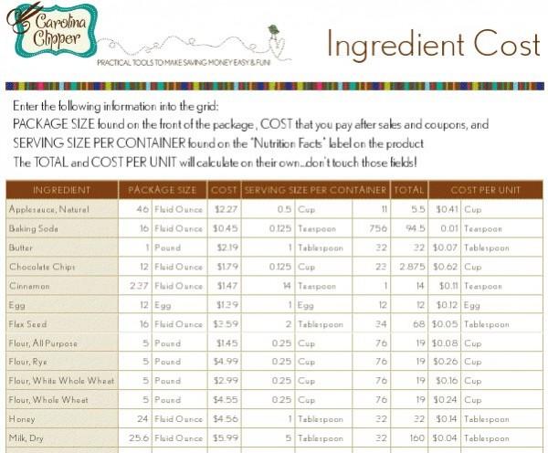 free downloadable recipe cost calculator spreadsheet money saving