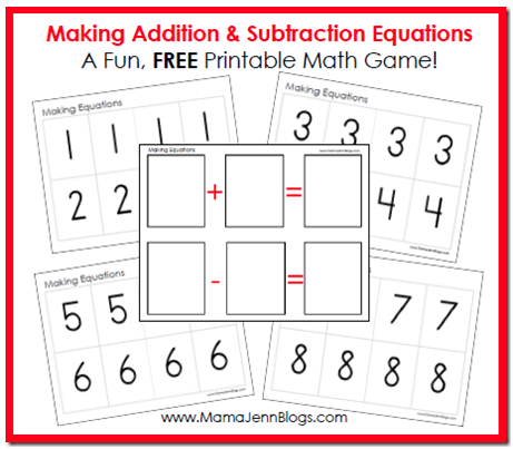 Educational Freebie: Printable Addition & Subtraction Equation Game ...