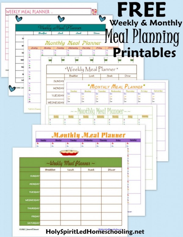 meal planner free printable