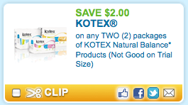 image about Natural Balance Printable Coupons titled $2/2 Kotex printable coupon codes \u003d Cost-free liners at Walmart and