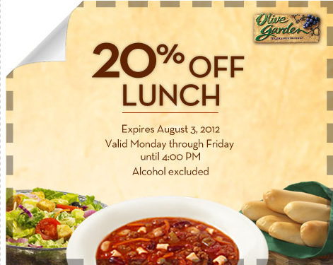 Olive Garden 20 Off Your Entire Lunch Bill Money Saving Mom