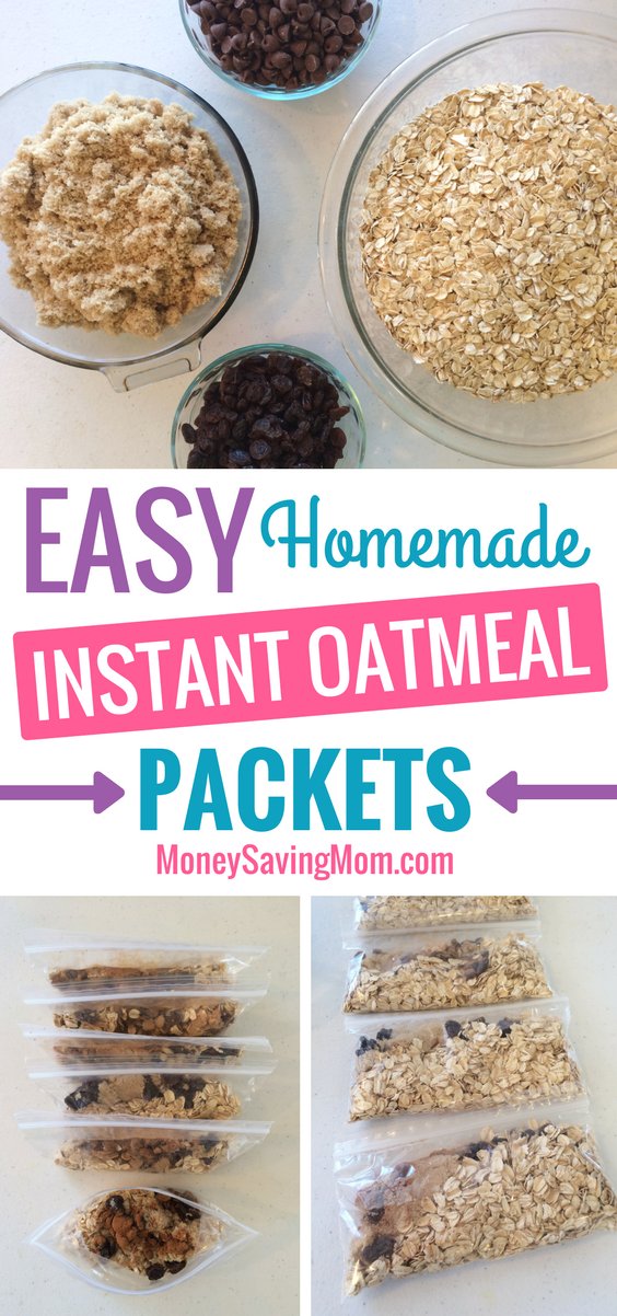 These Homemade Instant Oatmeal Packets are such an EASY make-ahead breakfast idea! And you can mix it up with whatever ingredients your family loves!