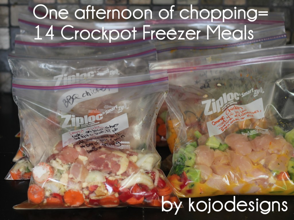one afternoon of chopping 14 crockpot freezer meals money saving
