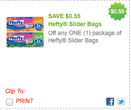 photograph about Hefty Printable Coupons identify $0.55/1 Significant Slider baggage printable coupon \u003d $0.44 at Kroger