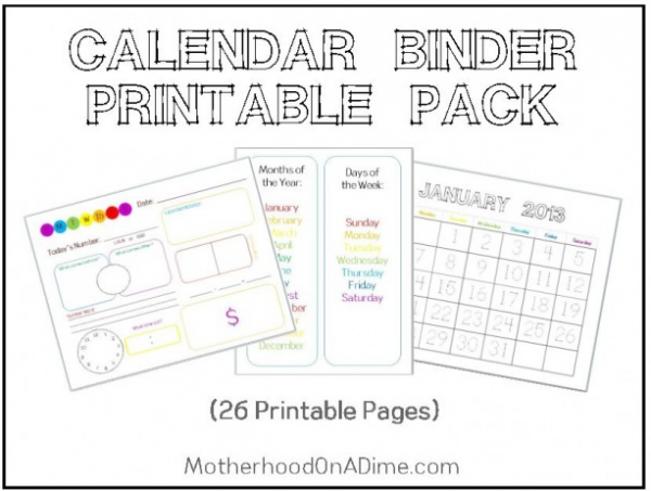 Kindergarten Calendar Sheets : Free printable calendar binder pages