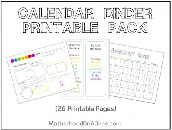 Kindergarten Calendar Sheets : Free printable calendar binder pages money saving mom