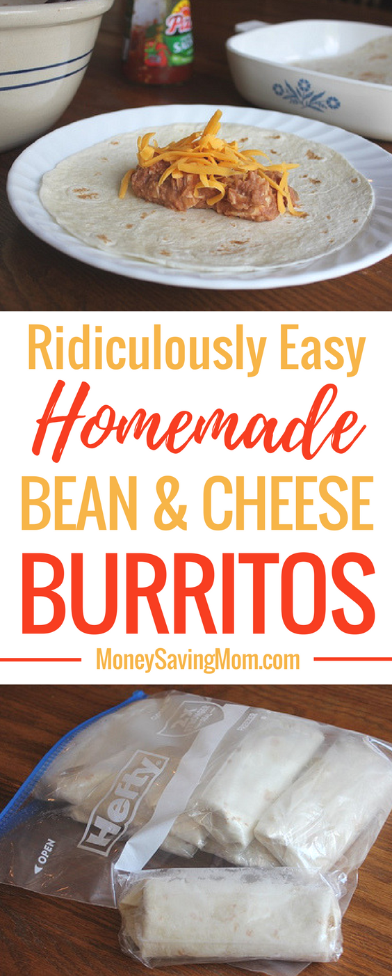 These homemade bean & cheese burritos are SO easy to make, and they're perfect for to-go lunches or make-ahead dinners!