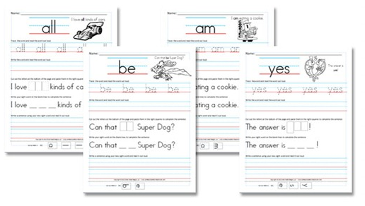 Preschool and Kindergarten Worksheets | Sentences, Sight word ...
