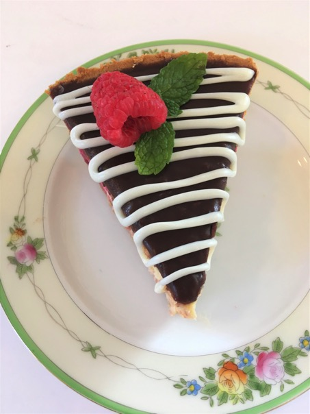 Plated Raspberry Cheesecake Pie