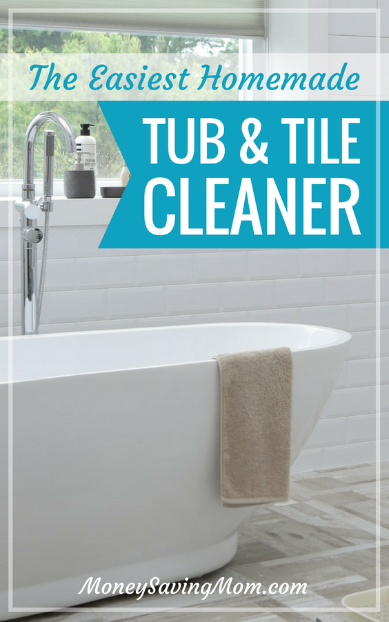 This homemade tub and tile cleaner is SO easy to make, smells wonderfully, and works GREAT!