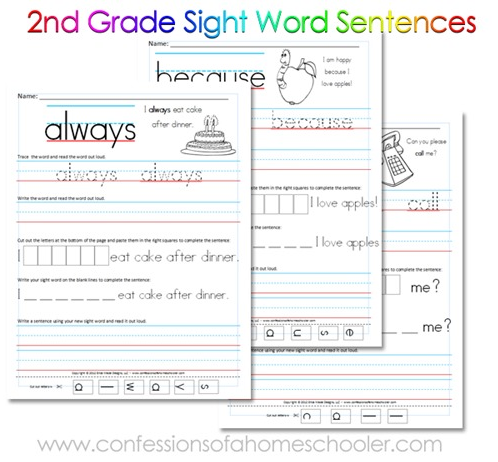 free sight word Worksheets Grade printable printable Reading 2nd Free
