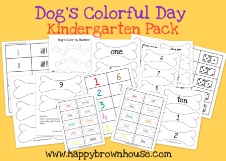 Free Dog's Colorful Day Kindergarten Printable Pack