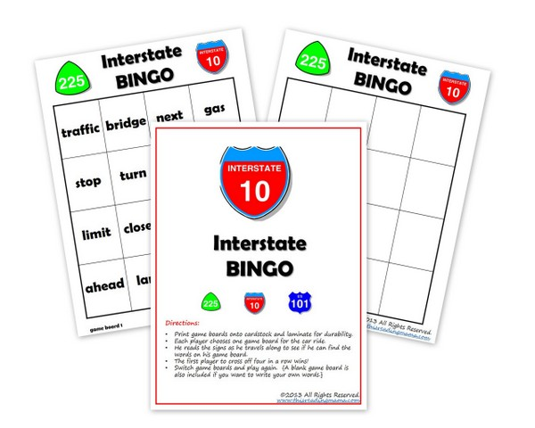 Free Interstate BINGO Pack (K-2nd Grade)