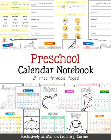 Kindergarten Calendar Notebook : Free preschool calendar notebook pages money saving mom