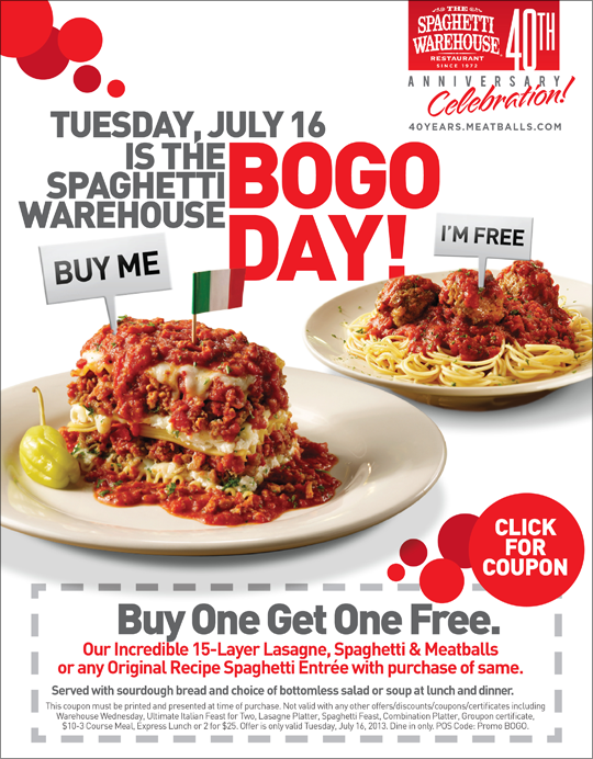 Spaghetti Warehouse: Buy One, Get One Free Entree coupon