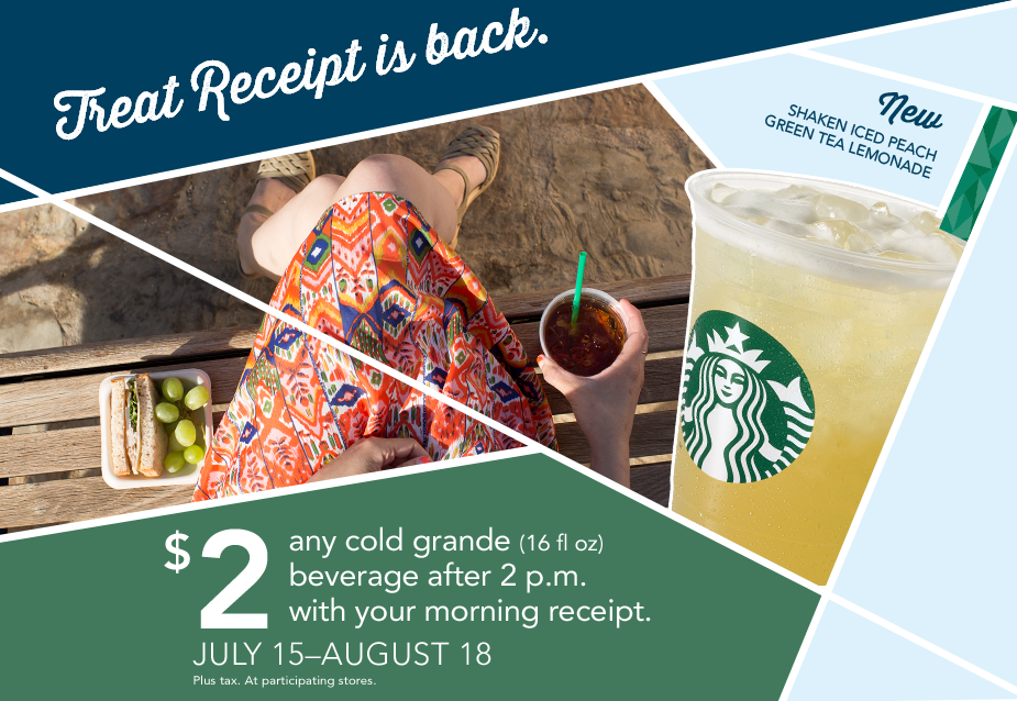 Starbucks Treat Receipt: Bring in your receipt after 2 p.m. to get a $2 Grande cold beverage!