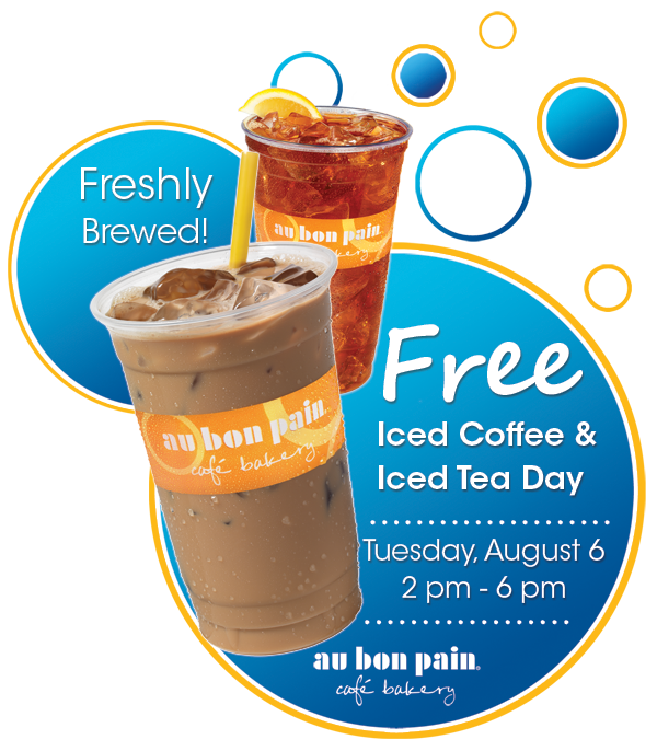 Au Bon Pain: Free Iced Coffee and Iced Tea on August 6, 2013